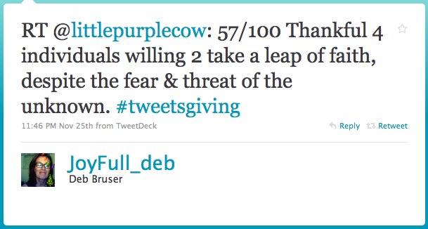 Deb Bruser gratitude tweet