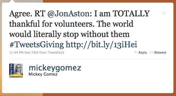 Mickey Gomez gratitude tweet